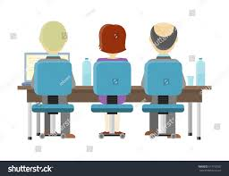 Design A Desk Online people sitting desk working on computer stock vector 517197502