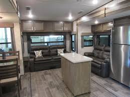 kitchen island with range 2018 open range roamer 337rls rear living 5th wheel with kitchen
