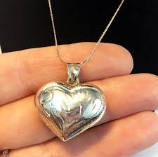 vintage necklace box images Sterling silver heart pendant vintage 925 etched sterling puffy jpg