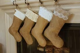 classic cream line set four 4 burlap stockings