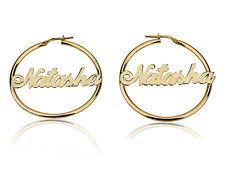 Name Hoop Earrings Gold Plated Name Earrings Ebay