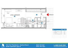 Floor Plan Studio Type Floor Plans Of Park View Saadiyat Island