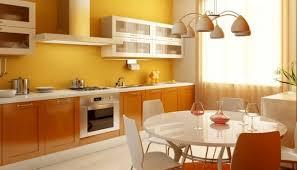 peinture orange cuisine design interieur cuisine vintage peinture murale jaune armoires