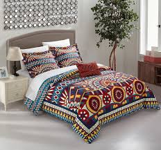 geometric pattern bedding chic home zaiden 4 piece duvet cover set reversible bedding red