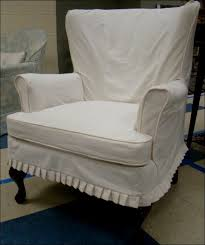 Wingback Chair Slipcover Pattern Furniture Wonderful Stretch Wingback Slipcover Denim Slipcovers