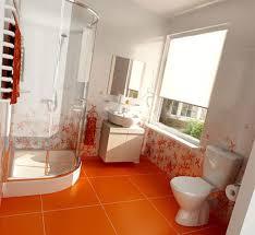 Orange Floor L Colorful Bathroom Ideas With Orange Tile Decoration Floor And