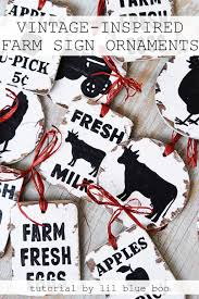 vintage inspired farm sign ornaments hackshaw lil blue boo