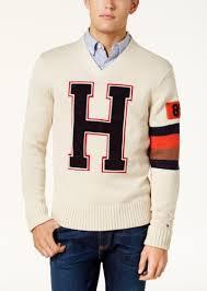 hilfiger sweater mens hilfiger hilfiger s h varsity logo v neck sweater