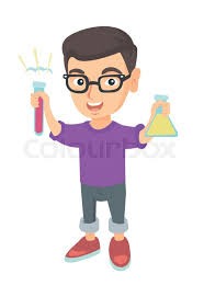 little caucasian boy holding test tube and beaker with chemical