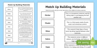 up building materials activity sheet worksheet