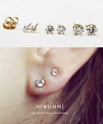 surgical steel stud earrings 22g cz ip gold 316l stainless steel stud earrings