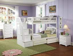 Wooden Bunk Bed With Stairs Modern White Oak Wood Bunk Bed Combined Light Plum Wall Color Of