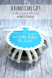 a mini bundt cake gift with a printable tag gift ideas