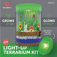light up terrarium kit for kids with led light on lid create