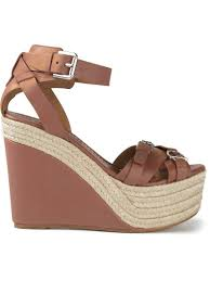 ralph lauren wedge sandals in brown lyst