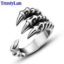 rock silver rings images Punk rock stainless steel mens biker rings silver color dragon jpg