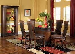 luxurious dining set design idea with oval wooden table with glass