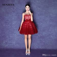 wine red short ball gown prom dresses illusion o neck lace evening