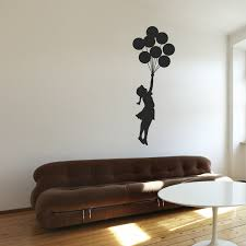 wall murals peel and stick creative and innovative decorative wall balloon wall decall theme black shadow woman nice wallpaper white brown wooden floor banksy floating amazing