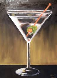 martini glass acrylic painting november 2010