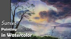 how to paint sunset with watercolors for beginners youtube