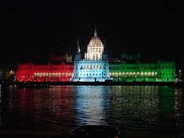 Flag Lights Flag Of Hungary Lights On The Hungarian Parliament Building At Night
