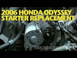 where is the starter on a 2006 honda civic how to replace a starter 2006 honda odyssey ericthecarguy