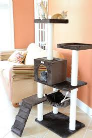 decor unique brown stacked cat trees with cat perch