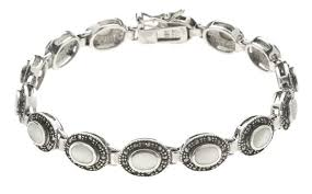 onyx pearl bracelet images Glitzy rocks sterling silver marcasite mother of pearl bracelet jpg