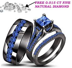 blue wedding rings blue sapphire trio wedding ring his hers band set for matching 14k