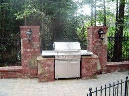 Backyard Brick Patio Design With Grill Station Seating Wall And by Build A Brick Grill Surround Brick And Stone Grill Surround