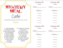 mystery food menu and answer key to do for april fool s