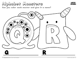 alphabet monsters q and r lotty learns