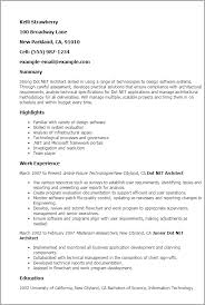 Architectural Resume Examples by Professional Dot Net Architect Templates To Showcase Your Talent