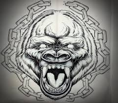 uncolored crying gorilla framed with huge chains tattoo design