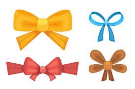 ribbons and bows set of bright pink purple blue gift ribbon bows clip