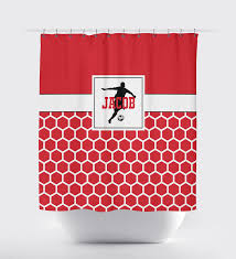 Red Black Shower Curtain Custom Hexagon Soccer Themed Shower Curtain W Name U2013 Shop Wunderkinds