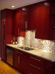 Small Kitchen Remodel Featuring Slate Tile Backsplash by Best 25 Cherry Wood Cabinets Ideas On Pinterest Staining Wood