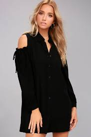 cold shoulder tops chic black shirt dress cold shoulder dress