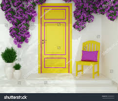 front view yellow door on white stock illustration 220909360
