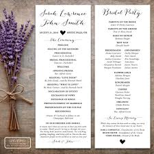 Order Wedding Programs Printable Tea Length Wedding Program With Calligraphy And Rustic