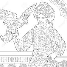 Ottoman Arabic Coloring Page Of Ottoman Sultan With Hawk Falcon Bird On His