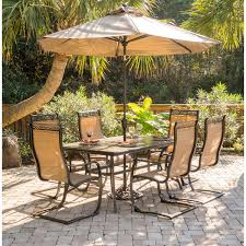 Patio Dining Set With Umbrella Monaco 7 Dining Set With Six C Chairs A Tile Top