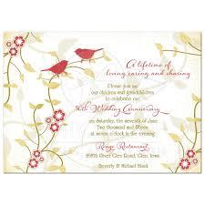50th wedding anniversary invitation red gold birds flowers