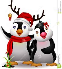 cute penguin christmas cartoon couple with love royalty free stock