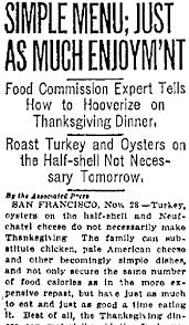 rationing thanksgiving dinner during world war i