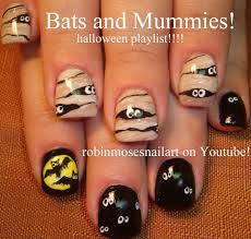 cute halloween nail art 2 nail designs bats and mummy nails
