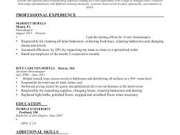Housekeeper Resume Sample by Resume Sample Housekeeping Hotel Templates