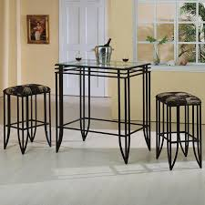3 Piece Dining Room Set by Crown Mark Matrix 3 Piece Glass Top Pub Table And Chairs Set