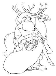 santa rudolph reindeer giving toys christmas coloring